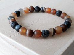 Mannen armband – agaat bruin streep