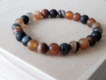 Armband voor mannen - agaat - bruin