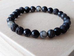 Armband voor mannen - agaat zwart streep