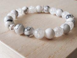 Armband howliet - bergkristal - zilver