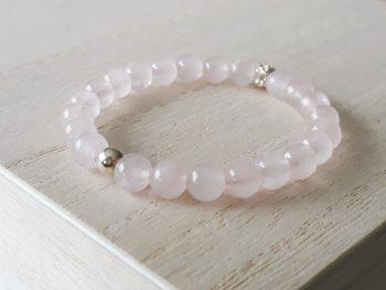Armband rozenkwarts - voor meisjes