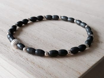 Armband hematiet - zilver - fijne armband