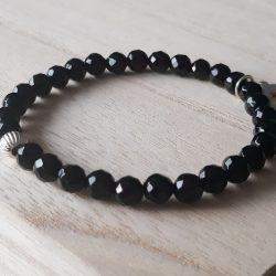 Onyx armband met bedel in sterling zilver