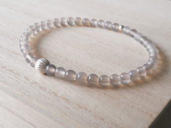 Armband agaat - 4 mm - zilver