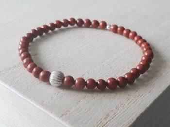 Armband rode jaspis - zilver - fijne armband