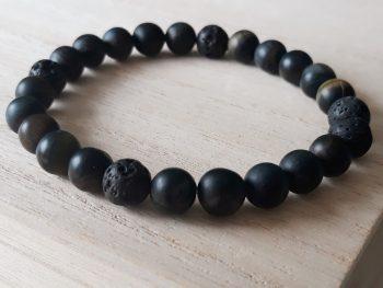 Armband voor mannen – tijgeroog - blauw