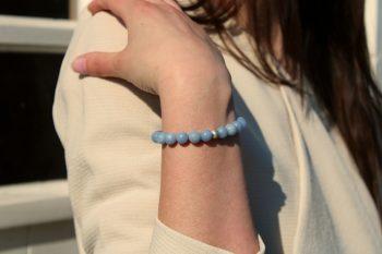 Bracelet angélite - 8 mm - argent
