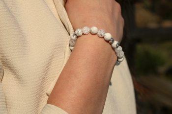 bracelet howlite - cristal de roche