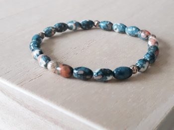 Armband jaspis - blauw - zilver