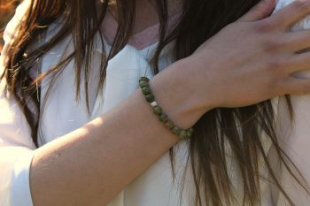 Bracelet unakite – 8 mm – argent