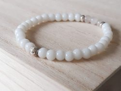 Armband rozenkwarts - jade - zilver