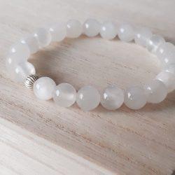 Jade armband wit met zilver