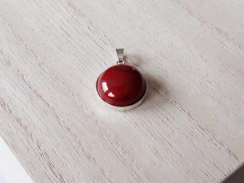 Hanger Jaspis rood - zilver