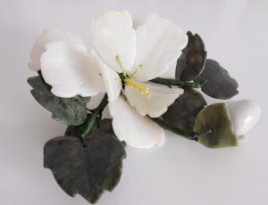 Jade edelsteen bloem wit
