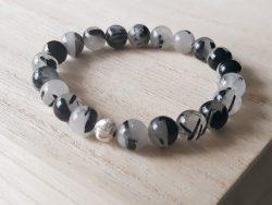 Armband rutielkwarts - 8 mm - zilver - zwart wit