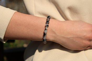 bracelet quartz rutile - noir blanc