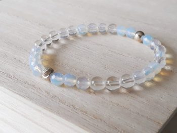 Armband bergkristal - opaliet - zilver