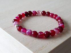 Armband agaat - voor meisjes - roze