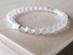 Armband bergkristal mat - zilver