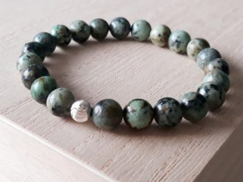 Armband turquoise - Afrikaanse turquoise - 8 mm - zilver