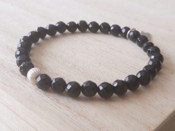 Bracelet onyx - 6 mm - argent