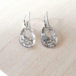 Oorbellen 925 zilver met kristallen model whiteblack