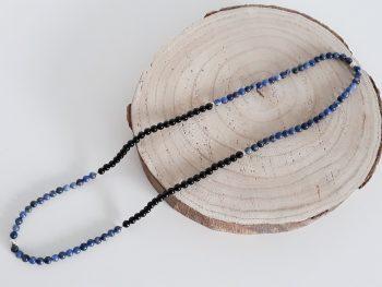 Lange halsketting - sodaliet - onyx
