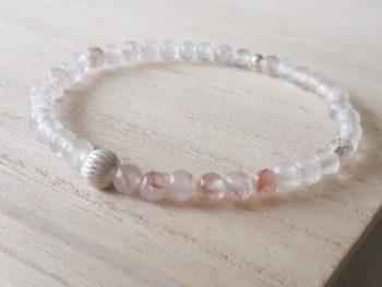 Armband aardbeienkwarts - 4 mm - zilver