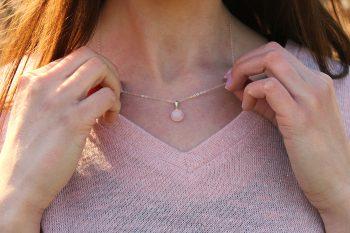 pendentif quartz rose - argent