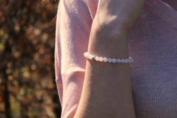 Bracelet quartz rose – 6 mm - argent