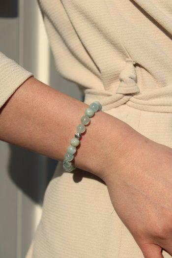 Bracelet aigue-marine – 8 mm