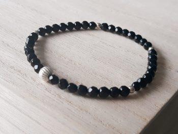 Armband onyx - 4 mm - zilver