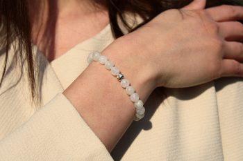 Bracelet pierre de lune - 8 mm - argent