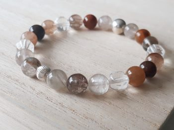 Armband rutielkwarts - bergkristal - zilver