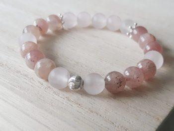 Armband aardbeienkwarts - rozenkwarts - zilver