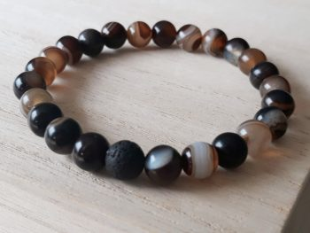 Armband voor mannen - bruine streepagaat