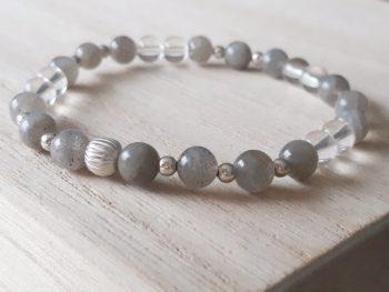 Armband labradoriet - bergkristal
