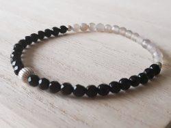 Armband agaat - onyx - 4 mm - zilver
