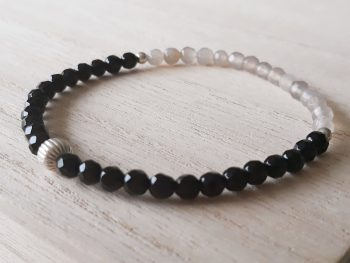 Armband agaat - onyx - 4 mm - zilver