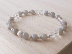 Armband labradoriet - bergkristal - zilver