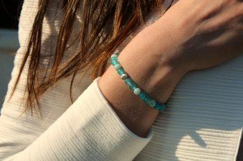 Bracelet agate – amazonite – 6 mm – argent