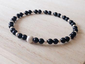 Armband zwarte toermalijn - zilver