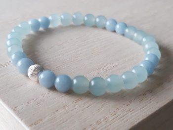 Armband angeliet - agaat - blauw - zilver