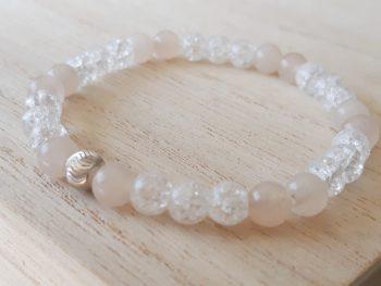 Armband aventurijn - roze - bergkristal