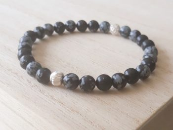 Armband sneeuwvlok obsidiaan - 6 mm - zilver