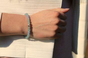 Bracelet angélite – agate bleue – argent