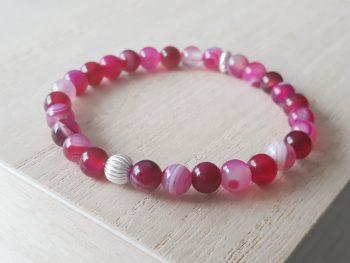 Armband roze streepagaat - zilver