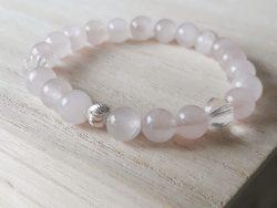 Armband rozenkwarts - bergkristal - 8 mm - zilver