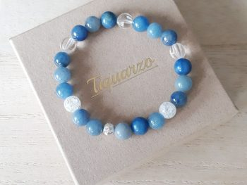 Armband blauwe aventurijn - bergkristal