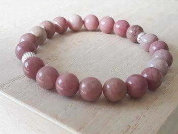Armband rodoniet - 8 mm - zilver - roze